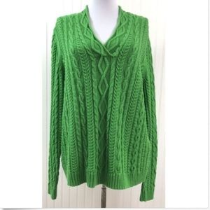 Chaps Women's XL Sweater Green Chunky Cable Knit